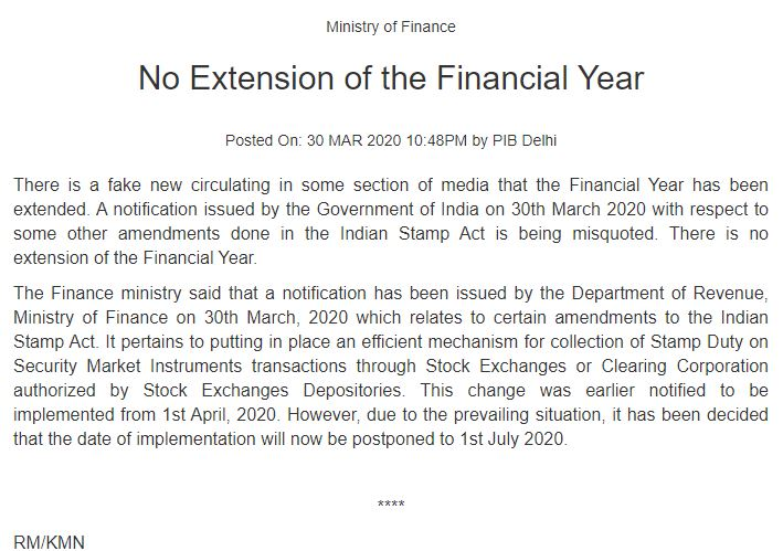 No Extension of Financial Year, Clarifies MOF