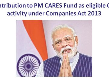 Contribution to PM CARES Fund as eligible CSR activity under Companies Act 2013