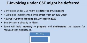 E-Invoicing under GST might be deferred