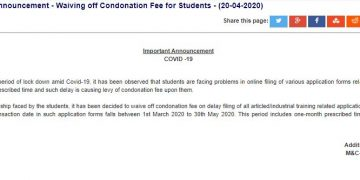 ICAI Waiving off Condonation Fee for CA Students