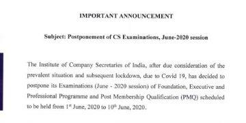 CS Examinations June 2020 Postponed