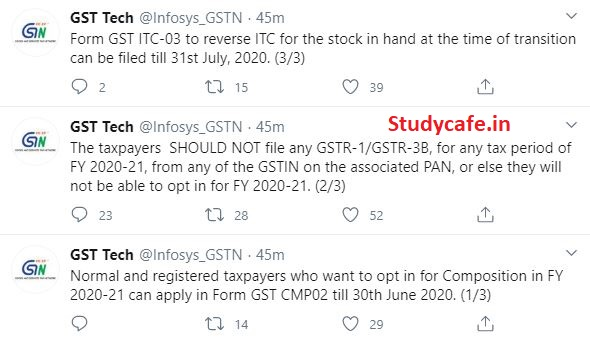 GST Tech advisory on Opting of GST Composition Scheme in FY 2020-21