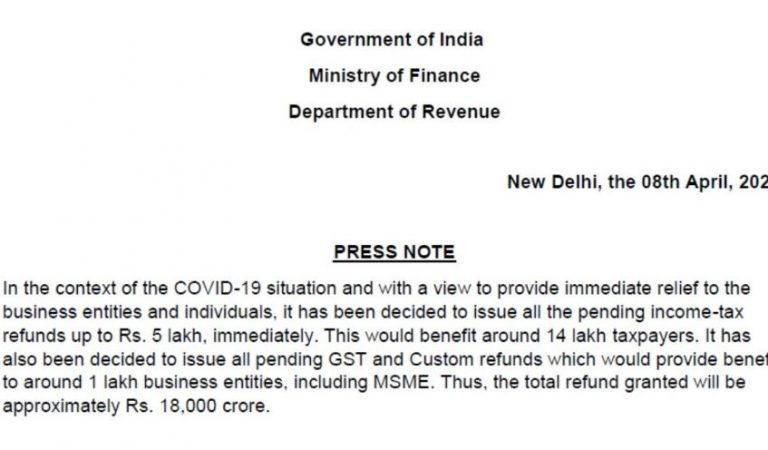 Income Tax Refund of upto Rs 5 Lakh to be immediately cleared | COVID19