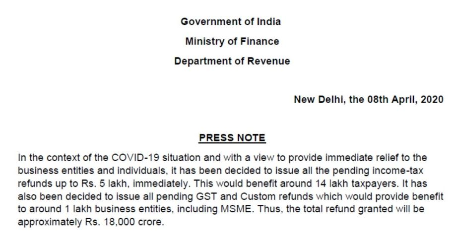 Income Tax Refund of upto Rs 5 Lakh to be immediately cleared   COVID19