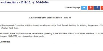 ICAI issues advisory on Bank Audits FY 2019-20