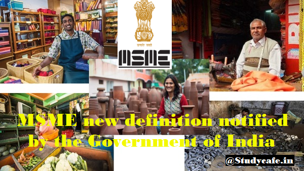 MSME new definition notified by the Government of India