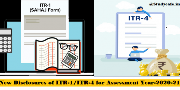 New Disclosures of ITR-1/ITR-4 for Assessment Year-2020-21