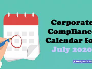 Corporate Compliance Calendar for July 2020