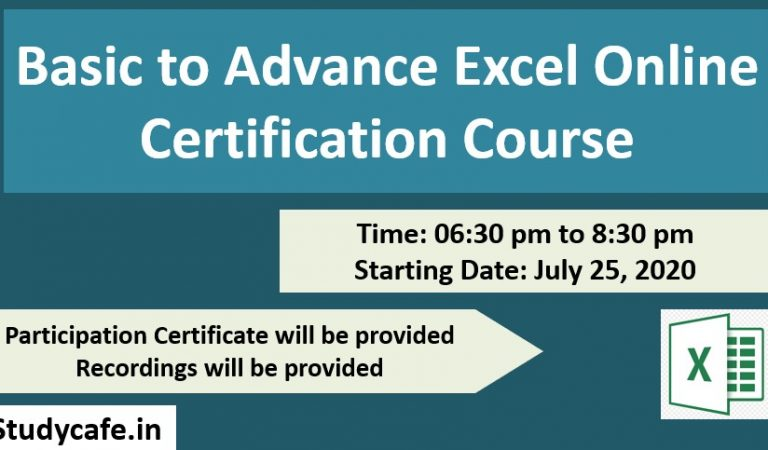 Last Day to register for 6 Days Online Basic to Advance Excel Certification Course