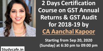 GST Annual Return GSTR-9 & GST Annual Audit GSTR-9C Certification Course