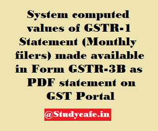 System computed values of GSTR-1 Statement (Monthly filers) made available in Form GSTR-3B as PDF statement on GST Po