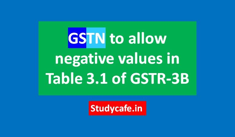 GSTN to allow negative values in Table 3.1 of GSTR-3B