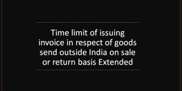 Time limit of issuing invoice in respect of goods send outside India on sale or return basis Extended