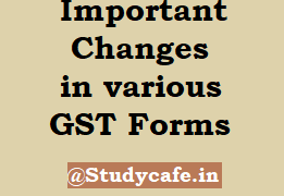 Important Changes in various GST Forms
