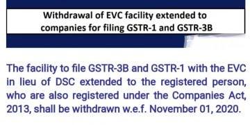 EVC facility for filing GSTR1/GSTR3B for companies withdrawn w.e.f. 01/11/2020