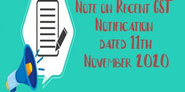 GST Notification summary dated 11th November 2020