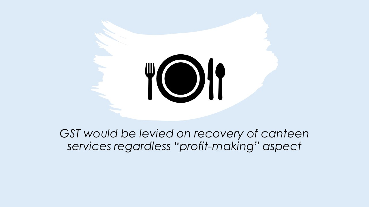 "GST would be levied on recovery of canteen services regardless ""profit-making"" aspect"