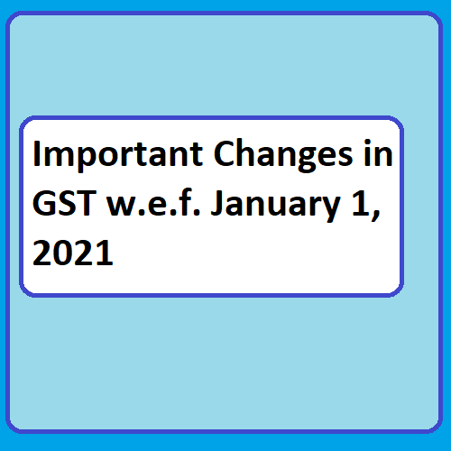Important Changes in GST w.e.f. January 1, 2021