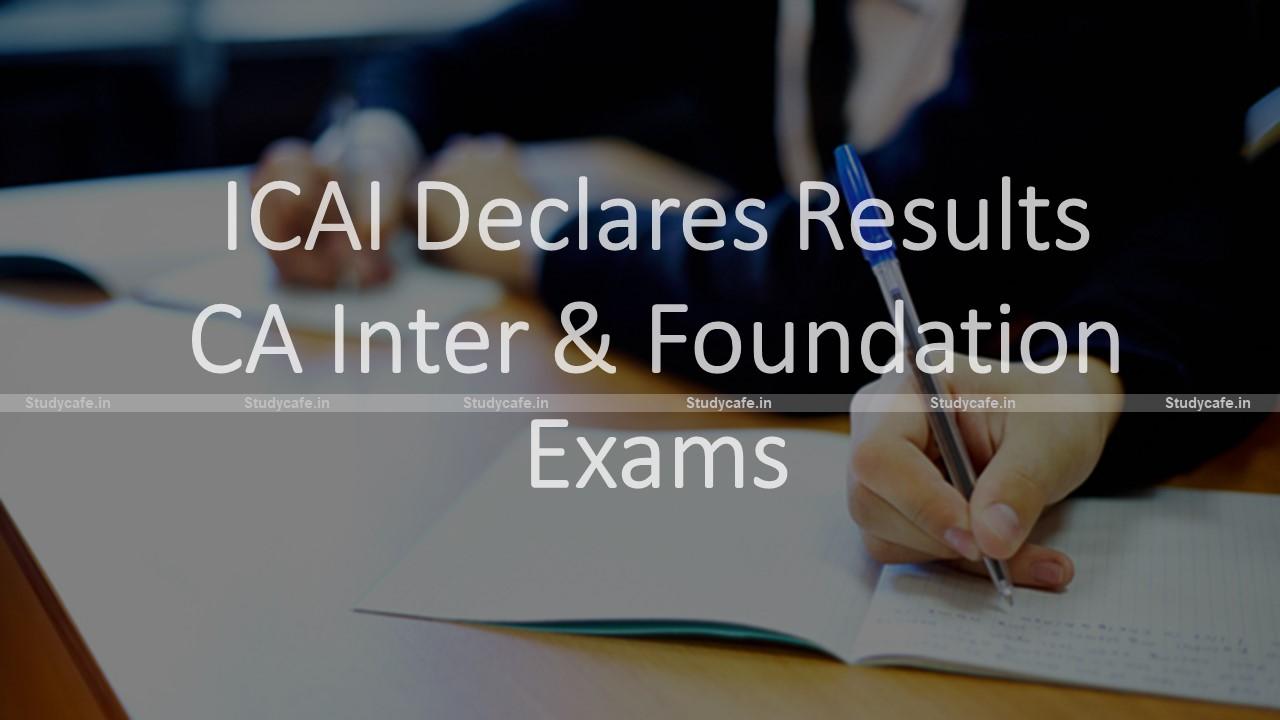 ICAI Declares Results of Nov 2020 CA Inter & Foundation Exams
