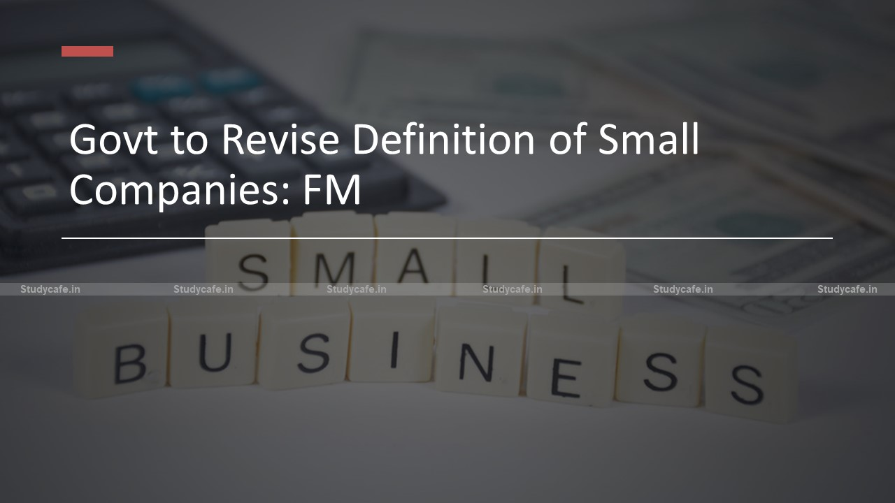 Govt to Revise Definition of Small Companies: FM