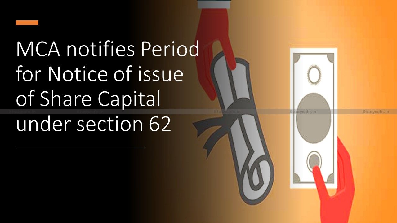 MCA notifies Period for Notice of issue of Share Capital under section 62