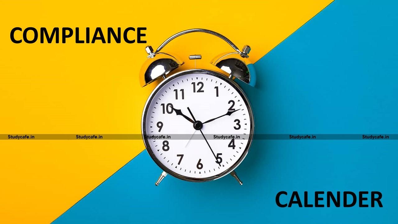 Tax Compliance Calendar March 2021