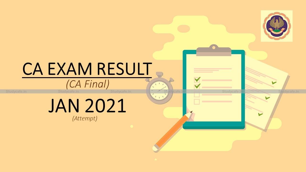 CA Exam Result Declared | CA Final Pass Percentage July 2021