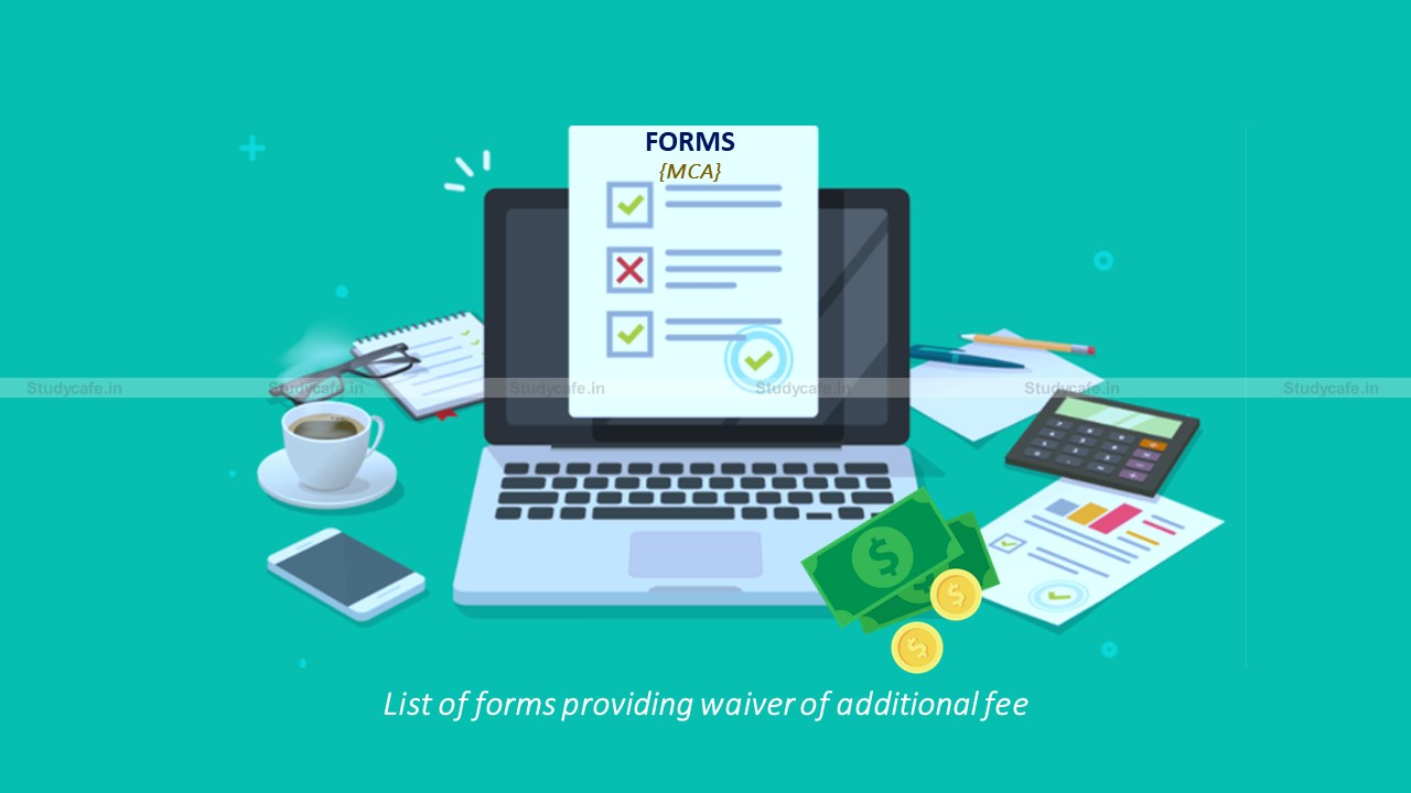 MCA Form List on which waiver of ROC additional fee is applicable