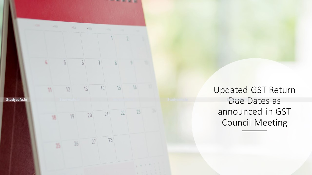 Updated GST Return Due Dates as announced in GST Council Meeting