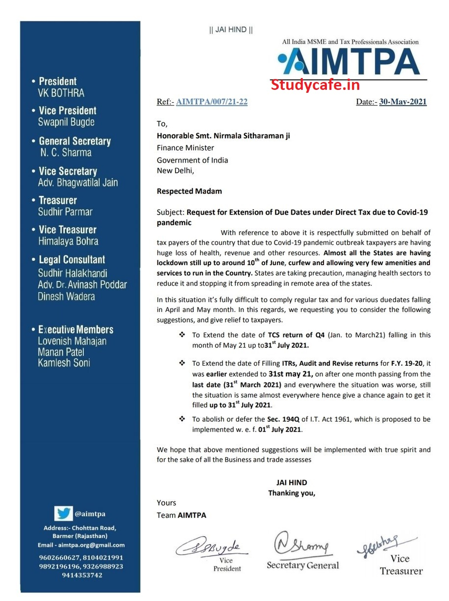 Due date extension request for filing TCS Return for Q4 FY 2020-21