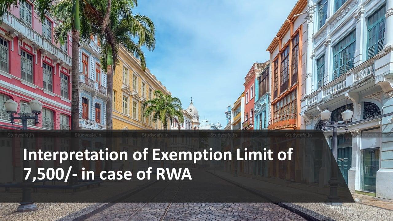 Interpretation of Exemption Limit of 7,500/- in case of RWA