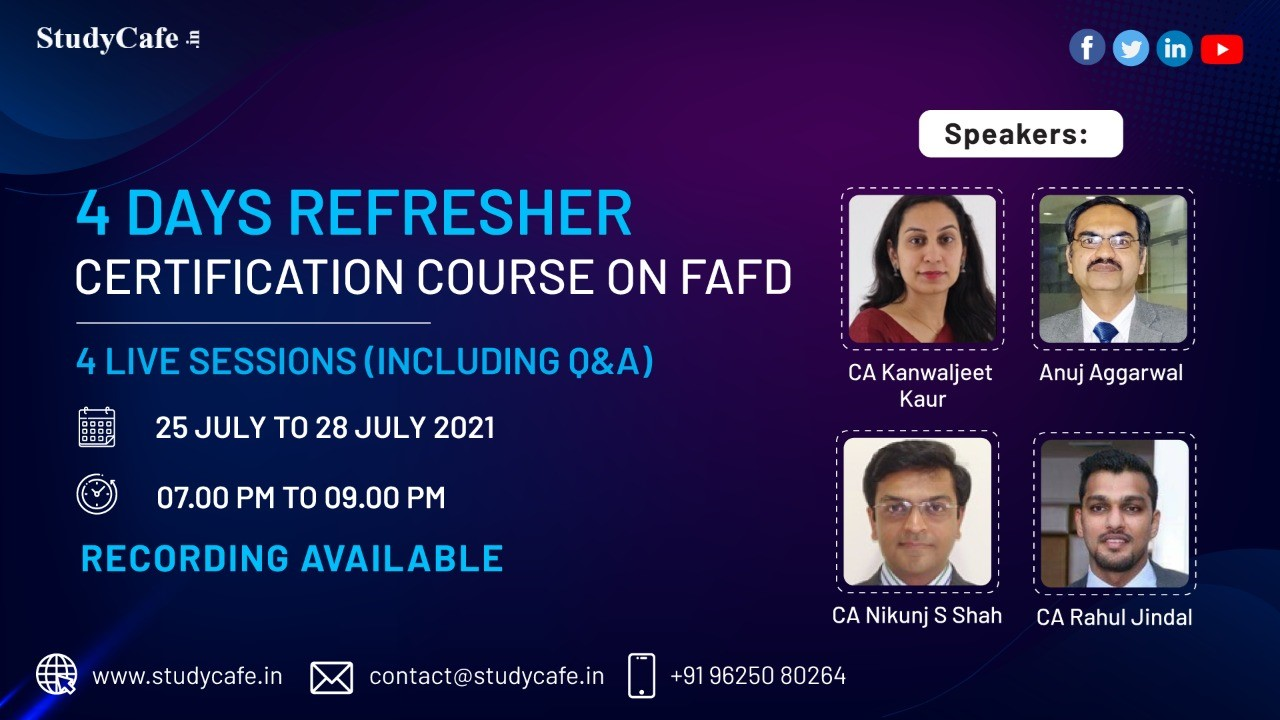 Online Refresher Certification Course on FAFD & GST