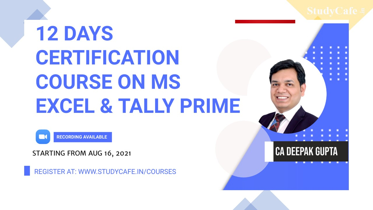 Microsoft Excel and tally prime Basic to Advance Certification Course