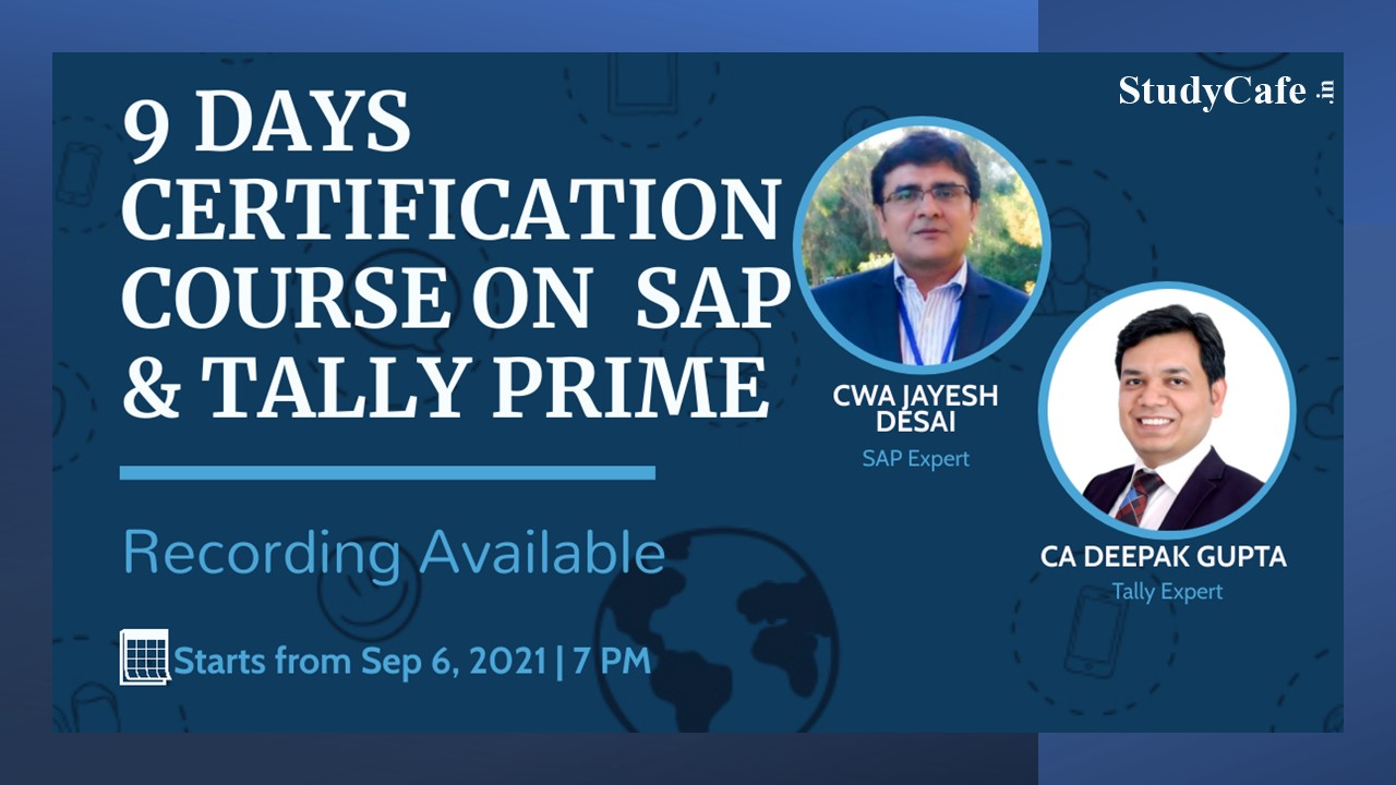 9 Days Certification Course on SAP & Tally Prime