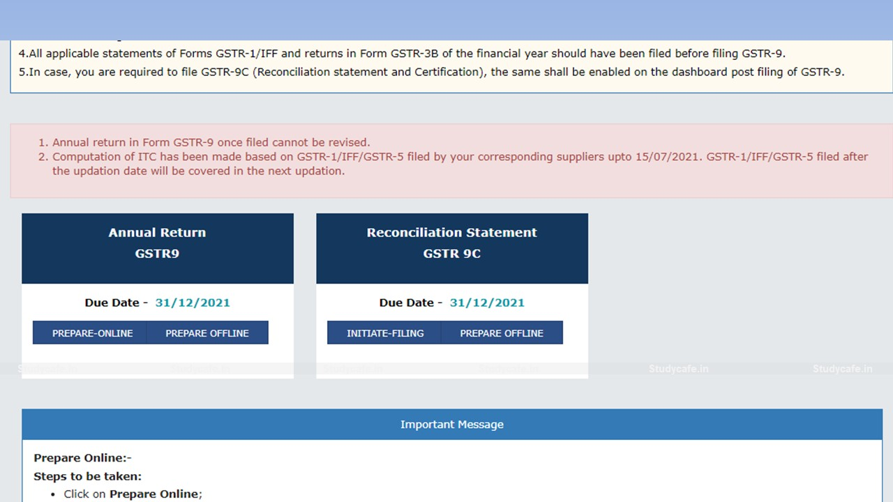 GSTR-9C Reconciliation Statement Available for Filing on GST Portal