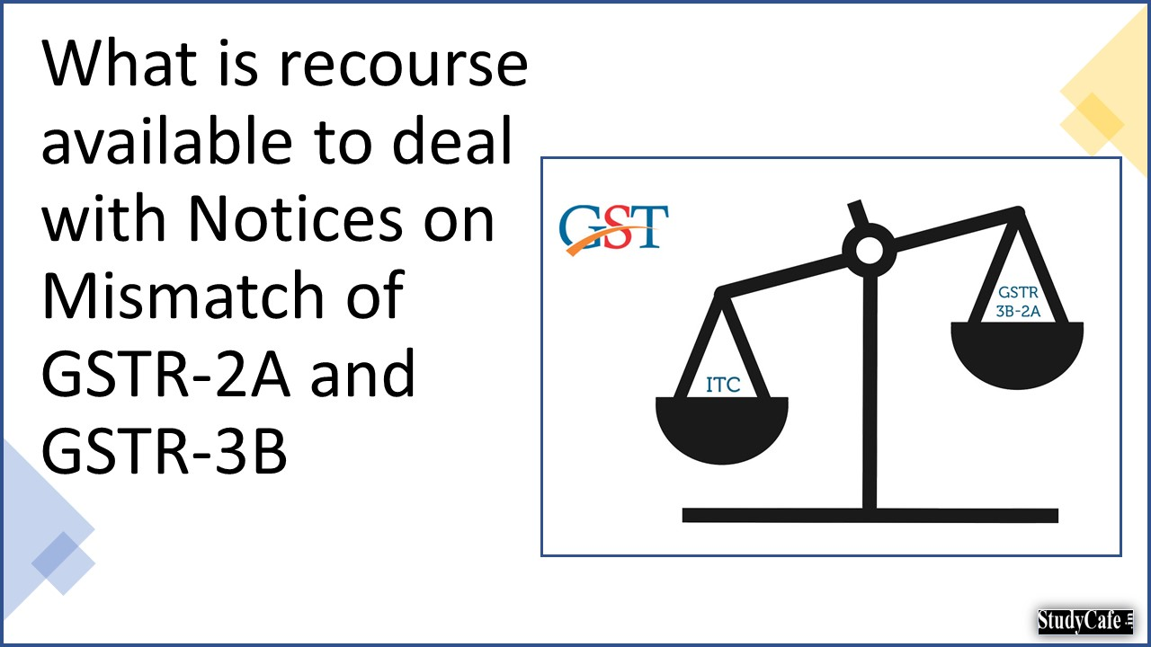 What is recourse available to deal with Notices on Mismatch of GSTR-2A and GSTR-3B