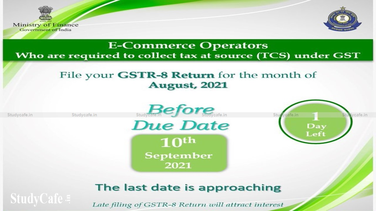 CBIC reminds E-Commerce operators who Deduct TCS to file GSTR-8 Return for August 2021
