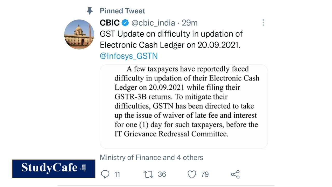 GSTR-3B Late Fees Waived for one day due to Technical Glitches on 20.09.2021