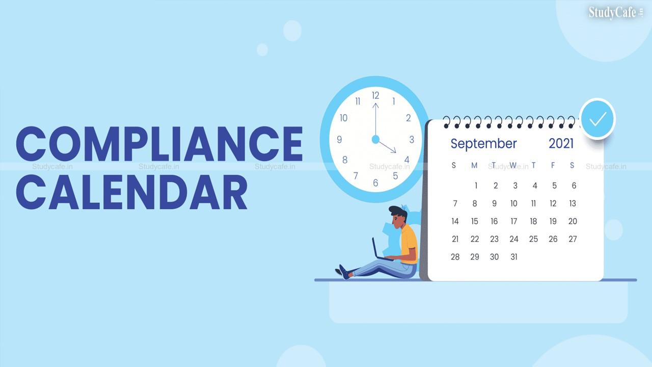 Statutory and Tax Compliance Calendar for September 2021