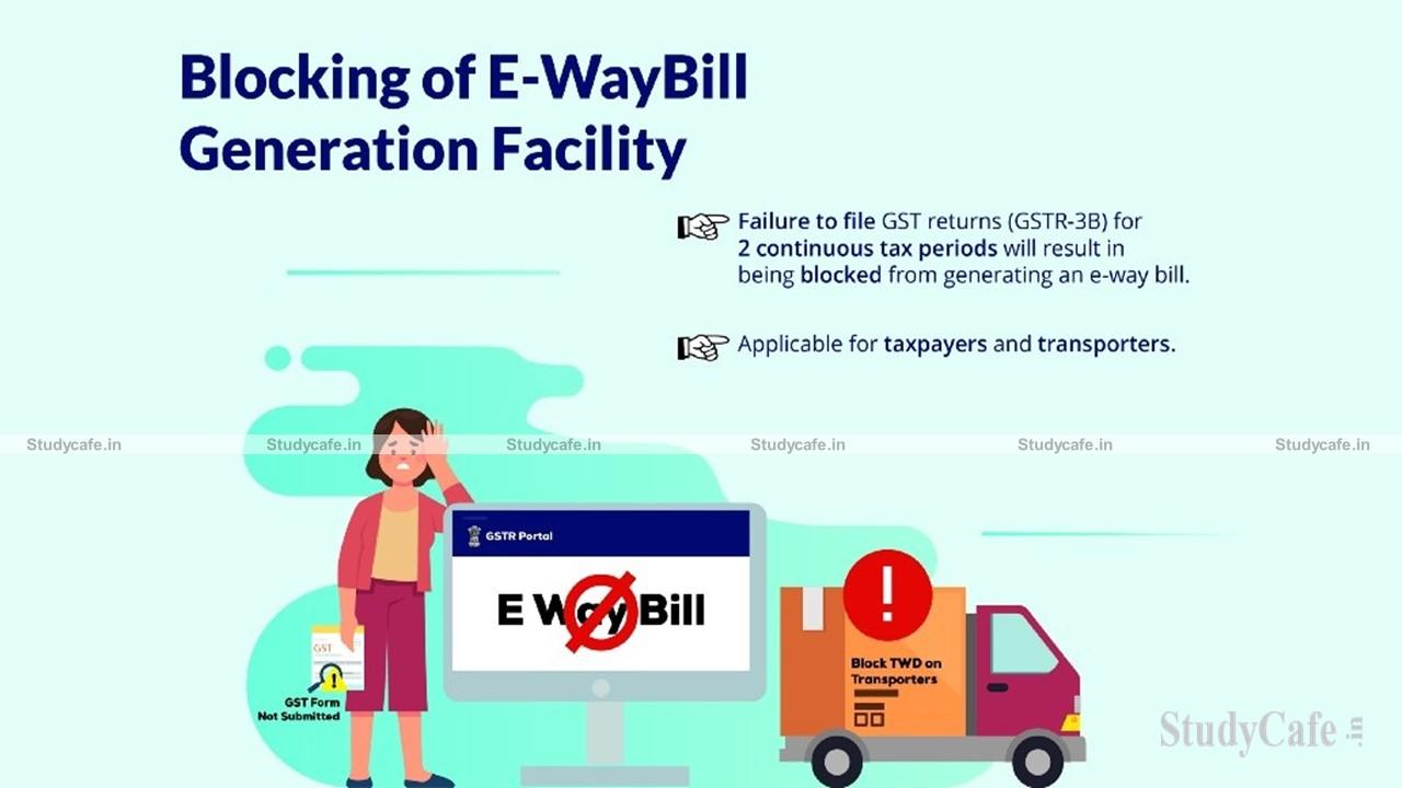Resumption of Blocking of E-Way Bill (EWB) generation facility